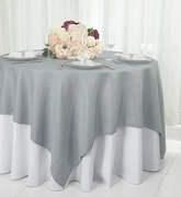 """72"""" Square Paillette Poly Flax / Burlap Table Overlay - Silver 10540 (1pc/pk)"""