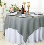 """72""""x 72"""" Square Sequin Paillette Poly Flax / Burlap Table Overlay - Silver 10540 (1pc/pk)"""