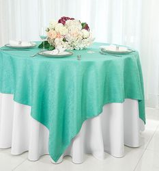"72"" Square Paillette Poly Flax / Burlap Table Overlay - Tiff Blue / Aqua Blue 10518 (1pc/pk)"