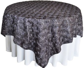 """72"""" Square Satin Rosette Table Overlays/ Table Cloths (12 Colors)"""