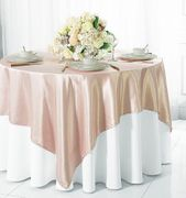 "72"" Square Satin Table Overlays - Blush Pink 51115(1pc/pk)"