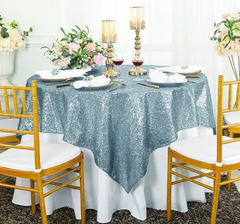 """72"""" Square Sequin Table Overlay/Tablecloth (13 Colors)"""