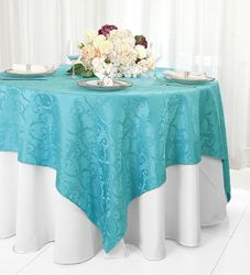 """72"""" Square Versailles Damask Jacquard Polyester Table Overlays/ Table Cloths (14 Colors)"""