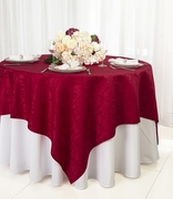 """72"""" Square Versailles Damask Jacquard Polyester Table Overlays - Apple Red 92408 (1pc/pk)"""