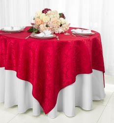 "72"" Square Versailles Damask Jacquard Polyester Table Overlays - Apple Red 92408 (1pc/pk)"