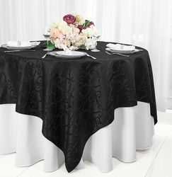 "72"" Square Versailles Damask Jacquard Polyester Table Overlays - Black 92439 (1pc/pk)"