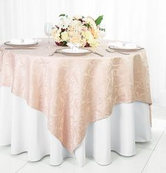 "72"" Square Versailles Damask Jacquard Polyester Table Overlays - Blush Pink 92415 (1pc/pk)"