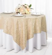 """72"""" Square Versailles Damask Jacquard Polyester Table Overlays - Champagne 92428 (1pc/pk)"""