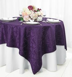 "72"" Square Versailles Damask Jacquard Polyester Table Overlays - Eggplant 92445(1pc/pk)"