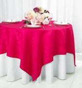 "72"" Square Versailles Damask Jacquard Polyester Table Overlays - Fuchsia 92409 (1pc/pk)"
