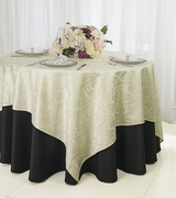 """72"""" Square Versailles Damask Jacquard Polyester Table Overlays - Ivory 92402 (1pc/pk)"""