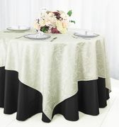 "72"" Square Versailles Damask Jacquard Polyester Table Overlays - Ivory 92402 (1pc/pk)"