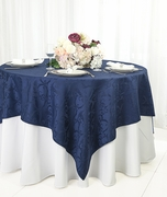 """72"""" Square Versailles Damask Jacquard Polyester Table Overlays - Navy Blue 92423 (1pc/pk)"""