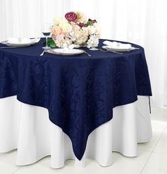 "72"" Square Versailles Damask Jacquard Polyester Table Overlays - Navy Blue 92423 (1pc/pk)"