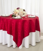 """72"""" Square Versailles Damask Jacquard Polyester Table Overlays - Red 92412 (1pc/pk)"""