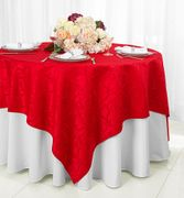 "72"" Square Versailles Damask Jacquard Polyester Table Overlays - Red 92412 (1pc/pk)"