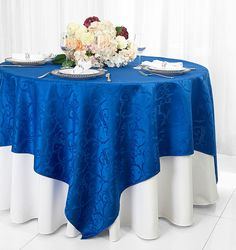 "72"" Square Versailles Damask Jacquard Polyester Table Overlays - Royal Blue 92422 (1pc/pk)"