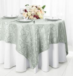 """72"""" Square Versailles Damask Jacquard Polyester Table Overlays - Silver 92440 (1pc/pk)"""