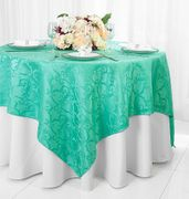 "72"" Square Versailles Damask Jacquard Polyester Table Overlays - Tiff Blue / Aqua Blue 92418(1pc/pk)"