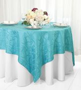 """72"""" Square Versailles Damask Jacquard Polyester Table Overlays - Turquoise 92485 (1pc/pk)"""