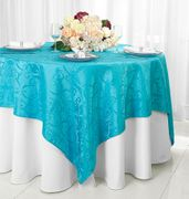 "72"" Square Versailles Damask Jacquard Polyester Table Overlays - Turquoise 92485 (1pc/pk)"