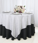 """72"""" Square Versailles Damask Jacquard Polyester Table Overlays - White 92401 (1pc/pk)"""