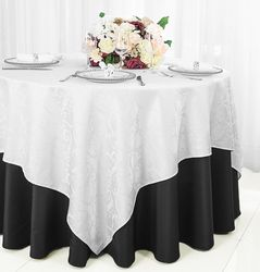 "72"" Square Versailles Damask Jacquard Polyester Table Overlays - White 92401 (1pc/pk)"