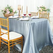"72"" x 120"" Rectangular Satin Tablecloth  - Dusty Blue 55203 (1pc/pk)"