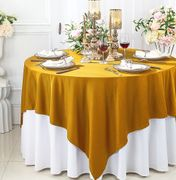 """72""""x 72"""" Seamless Square Scuba (Wrinkle-Free) Tablecloth / Table Overlay - Gold 20827 (1pc/pk)"""