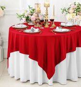 """72""""x 72"""" Seamless Square Scuba (Wrinkle-Free) Tablecloth / Table Overlay - Red 20812 (1pc/pk)"""