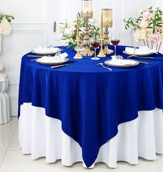 """72"""" x 72"""" Square Scuba (Wrinkle - Free) Tablecloths / Table Overlay Toppers (13 Colors)"""