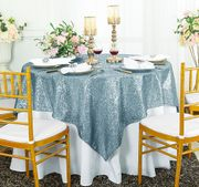 "72""x 72"" Square Sequin Table Overlay -  Dusty Blue 01803 (1pc/pk)"