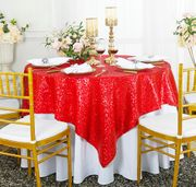 "72""x 72"" Square Sequin Table Overlay -  Red 01812 (1pc/pk)"