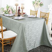 """72""""x120"""" Marquis Jacquard Damask Polyester Tablecloth- Silver 98840(1pc/pk)"""