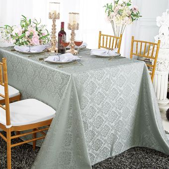 """72""""x 120"""" Marquis Rectangular Jacquard Damask Polyester Tablecloths (12 colors)"""