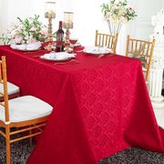 """72""""x120"""" Rectangular Marquis Jacquard Damask Polyester Tablecloth - Apple Red 98808(1pc/pk)"""