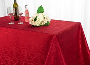 """72""""x120"""" Versailles Chopin Jacquard Damask Polyester Tablecloth - Apple Red 92808(1pc/pk)"""