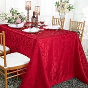 "72""x 120"" Rectangular Versailles Chopin Damask Jacquard Polyester Tablecloth - Apple Red 92808(1pc/pk)"