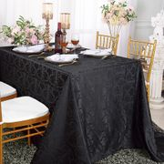 "72""x 120""  Rectangular Versailles Chopin Damask Jacquard Polyester Tablecloth- Black 92839(1pc/pk)"