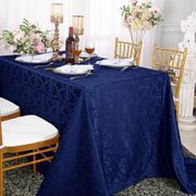 "72""x 120"" Rectangular Versailles Chopin Damask Jacquard Polyester Tablecloth - Navy Blue 92823(1pc/pk)"