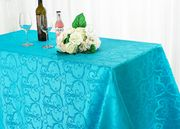 """72""""x120"""" Versailles Chopin Jacquard Damask Polyester Tablecloth- Turquoise 92885(1pc/pk)"""