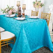 "72""x 120"" Rectangular Versailles Chopin Damask Jacquard Polyester Tablecloth- Turquoise 92885(1pc/pk)"