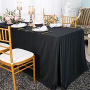 """72""""x30""""x29""""(6 Ft) Rectangular Scuba (Wrinkle-Free) Fitted Table Cover - Black 21739 (1pc/pk)"""