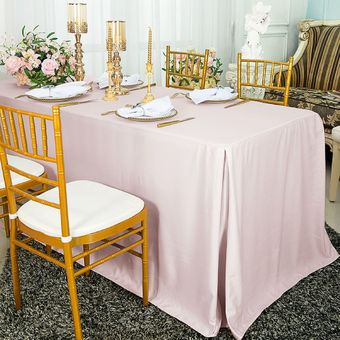 """72""""x30""""x29""""(6 Ft) Rectangular Scuba (Wrinkle-Free) Fitted Table Cover - Blush Pink 21715 (1pc/pk)"""