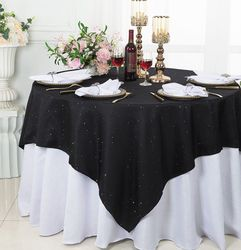 "72""x 72"" Square Paillette Poly Flax / Burlap Table Overlays Toppers/ Table Cloths (10 Colors)"
