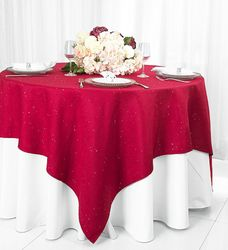 """72""""x 72"""" Square Paillette Poly Flax / Burlap Table Overlays Toppers/ Table Cloths (10 Colors)"""