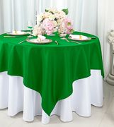 """72""""x72"""" Square Polyester Table Overlay Toppers - Emerald Green 52438 (1pc/pk)"""