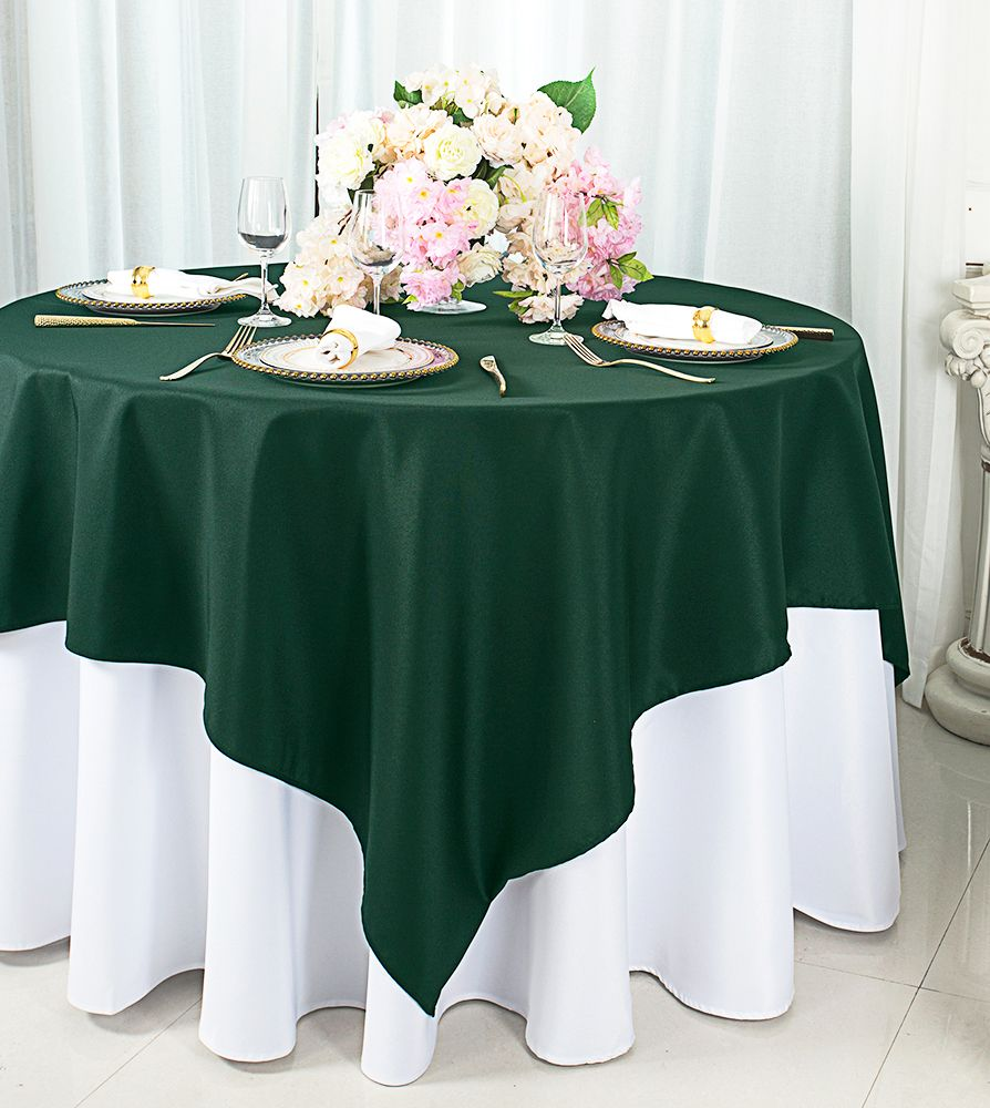 72 Quot Square Polyester Hunter Green Holly Green Table