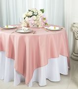 """72""""x72"""" Square Polyester Table Overlay Toppers - Rose Pink 52407 (1pc/pk)"""