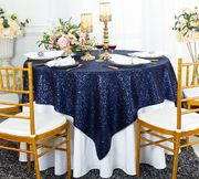 "72""x72"" Square Sequin Table Overlay - Navy Blue 01823 (1pc/pk)"
